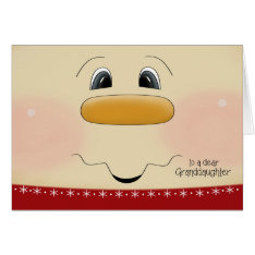 For Granddaughter Christmas Happy Snowman Face Card at Zazzle