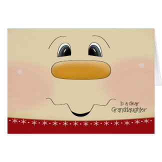 For Granddaughter Christmas Happy Snowman Face Card