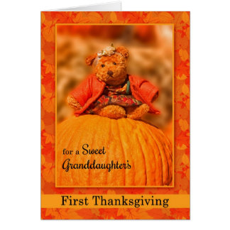 for Granddaughter's 1st Thanksgiving Teddy Bear Greeting Card