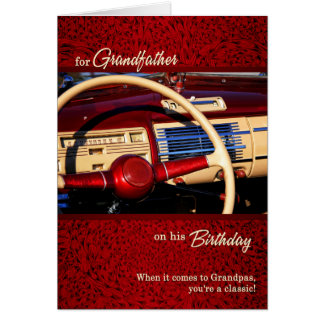 for Grandfather's Birthday - Red Classic Car Theme Card