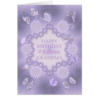 For grandma, lilac birthday card with flowers