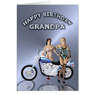 For Grandpa, birthday with girls and a motorcycle Greeting Card