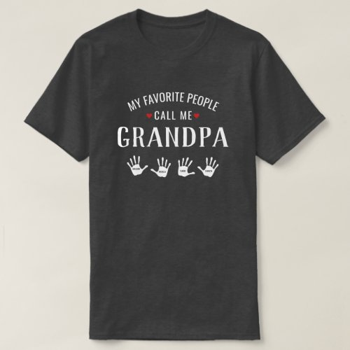 For Grandpa with 4 Grandkids Names Personalized T_Shirt