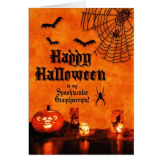 for Grandparents Halloween Orange and Black Bats Card