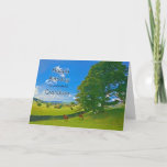 """For Grandson, a Pastoral landscape Birthday card<br><div class=""""desc"""">A tranquil painting showing farm fields in the countryside. Horses and sheep graze peacefully under a tree. the sun sines from a blue sky with fluffy white clouds. The picture is of the Lake District in the UK. Copyright Norma Cornes</div>"""