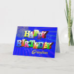 "For grandson, Bright bubbles birthday card<br><div class=""desc"">A rainbow of colorful letters for a happy birthday card</div>"