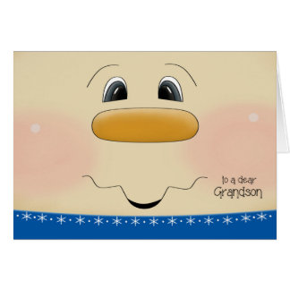 For Grandson Christmas Happy Snowman Face Greeting Card