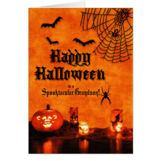 for Grandson Halloween Orange Bats and Spiders Card