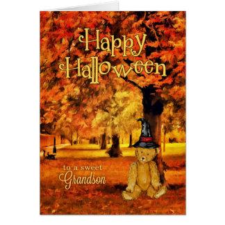 for Grandson Halloween Teddy Bear Witch Card