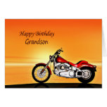 For Grandson, Motorcycle sunset birthday Greeting Cards