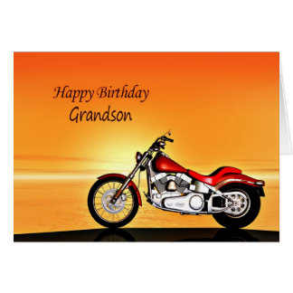 For Grandson, Motorcycle sunset birthday Card
