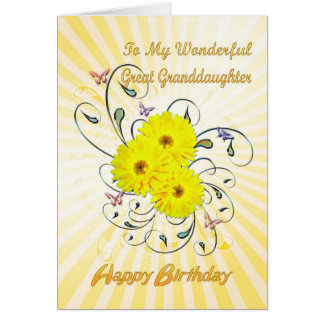 For Great granddaughter, birthday yellow flowers Card