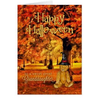 for Great Granddaughter Teddy Bear Witch Card