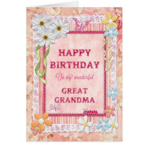 For Great Grandma, Craft Birthday Card