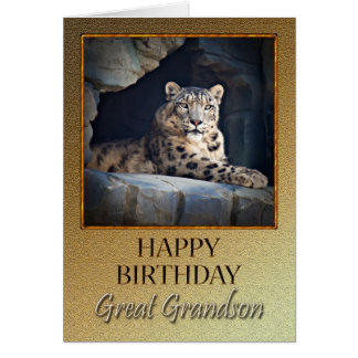 For Great Grandson a Birthday with a snow leopard Greeting Card