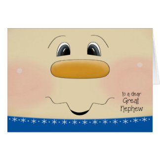 For Great Nephew Christmas Happy Snowman Face Card
