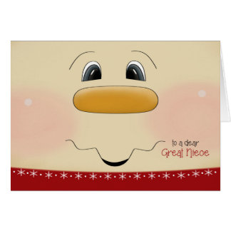 For Great Niece Christmas Happy Snowman Face Card