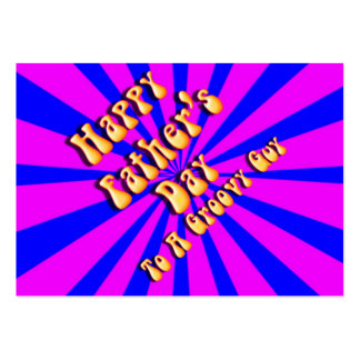 For Groovy Guy  Retro Father's Day (Pink & Blue) Business Card Template