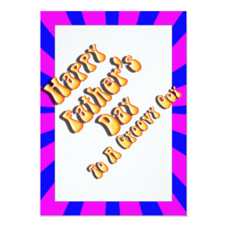 """For Groovy Guy  Retro Father's Day (Pink & Blue) 5"""" X 7"""" Invitation Card"""