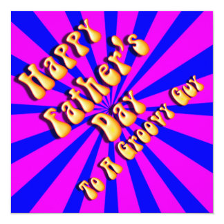For Groovy Guy  Retro Father's Day (Pink & Blue) 5.25x5.25 Square Paper Invitation Card