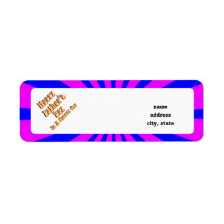 For Groovy Guy  Retro Father's Day (Pink & Blue) Return Address Label