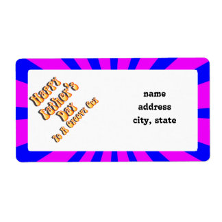 For Groovy Guy  Retro Father's Day (Pink & Blue) Shipping Label