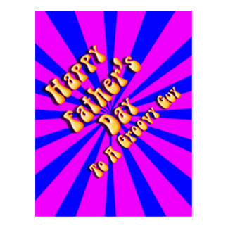 For Groovy Guy  Retro Father's Day (Pink & Blue) Postcard