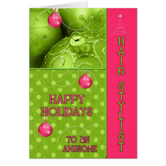 For Hair Stylist Pink and Green Christmas Card