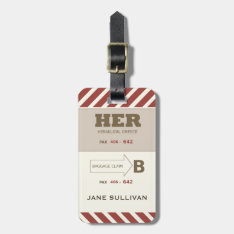 For Her A Baggage Claim Retro Look Luggage Tag at Zazzle