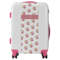 for her a nice pattern of pink dog paws on white luggage