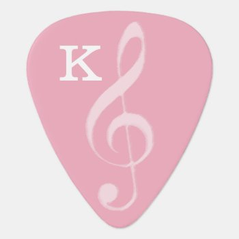 For Her  A Pink Treble Clef With Initial Guitar Pick by mixedworld at Zazzle