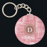 "for her . personalized pink monogram keychain<br><div class=""desc"">To create this nice item,  you just need to add a special name and initial letter to the templates</div>"