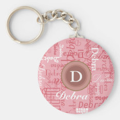 for her . personalized pink monogram keychain at Zazzle