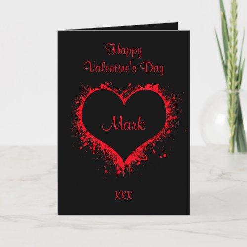 For him black valentines card