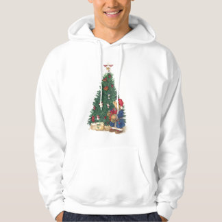 for him,illustrated christmas bear hoodie