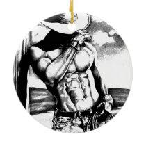 For Him Men's Art Cowboy Bodybuilder Christmas Ceramic Ornament