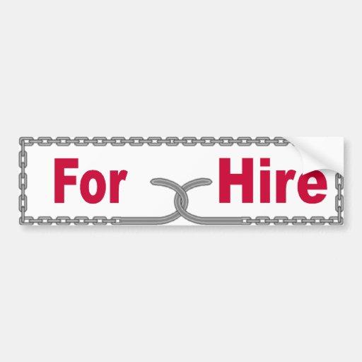 For Hire Car Bumper Sticker