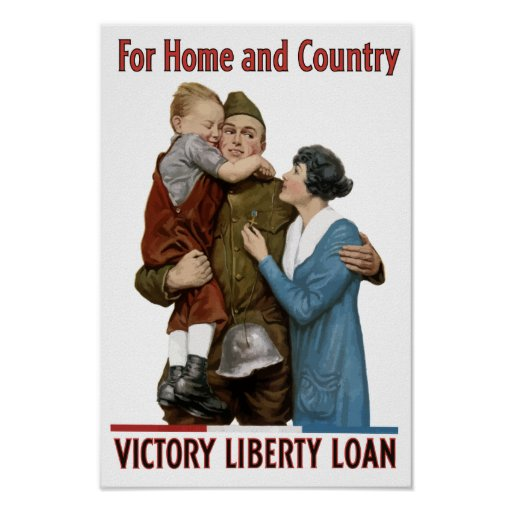 For home and country victory liberty loan poster zazzle for Two loans for one house