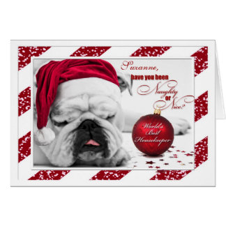 for Housekeeper at Christmas Bulldog Santa Hat Card