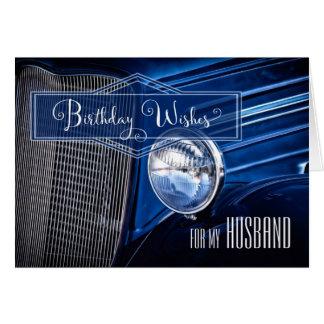 for Husband Birthday - Classic Car in Denim Blue Card