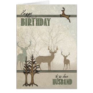 for Husband Birthday Deer in the Forest Card