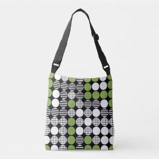 For In A Row - Dot Design - Black, White, Green Crossbody Bag