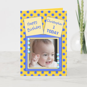 For Kids 1 Year Old Little Boy Birthday Greeting Card