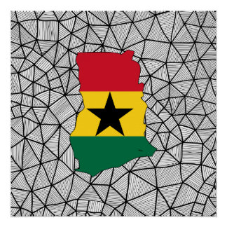 For Kids: Creative Ghana Flag With Map Poster