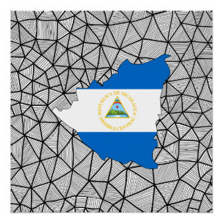 For Kids: Creative Nicaragua Flag With Map Perfect Poster
