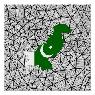 For Kids: Creative Pakistan Flag With Map Poster