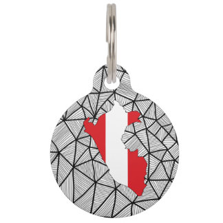 For Kids: Creative Peru Flag With Map Pet Name Tag
