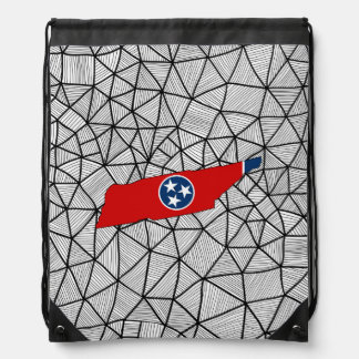 For Kids: Creative Tennessee Flag With Map Drawstring Backpack
