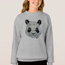 For Kids - Hand Painted Panda Art Girl's Sweater