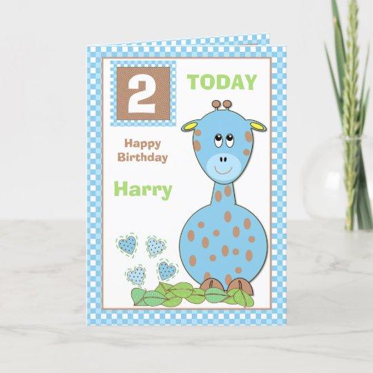 Personalised Custom Handmade Card For New Baby /'Giraffe/' Grey and Pink// Blue